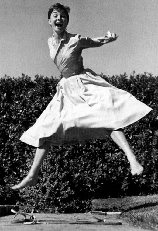 "Audrey Hepburn for Philippe Halsman's ""Jump"" series"