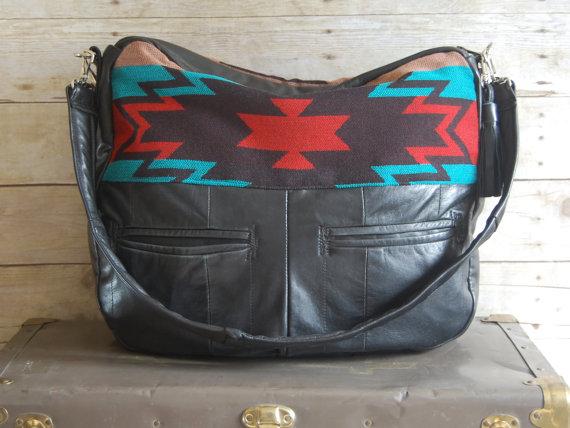 Aztec leather overnight bag