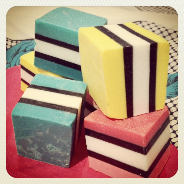 Licorice allsort soaps